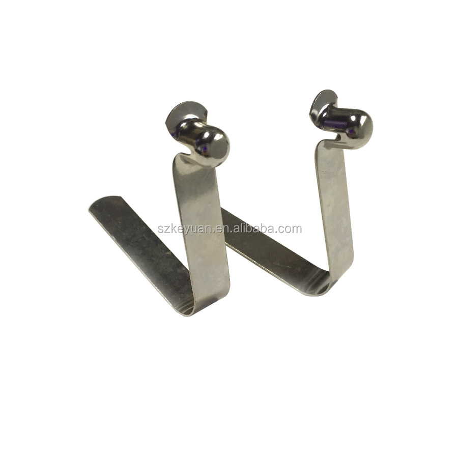Manufacture Nickel plating V shape single button tent Pole Clips for 30-50mm tube diameter