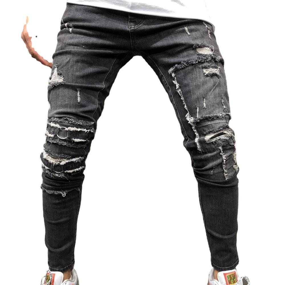 High Street Pantalones Vaqueros Rotos Para Hombre Color Negro Estilo Hip Hop Punk Buy Vaqueros De Los Hombres Hombres Ropa Y Pantalones Vaqueros Vaqueros De Los Hombres Product On Alibaba Com