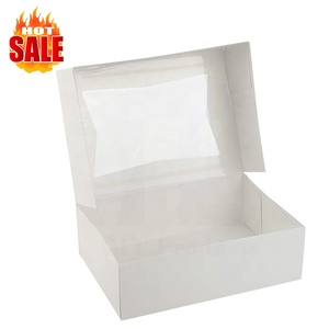 Height White Kraft Paperboard Auto-Popup PVC PET Clear Window Food Packaging Pie Bakery Cake Paper Box
