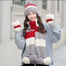 Mode Femmes Hiver Chaud <span class=keywords><strong>Tricot</strong></span>é Bonnet <span class=keywords><strong>Écharpe</strong></span> Gant <span class=keywords><strong>Ensemble</strong></span>