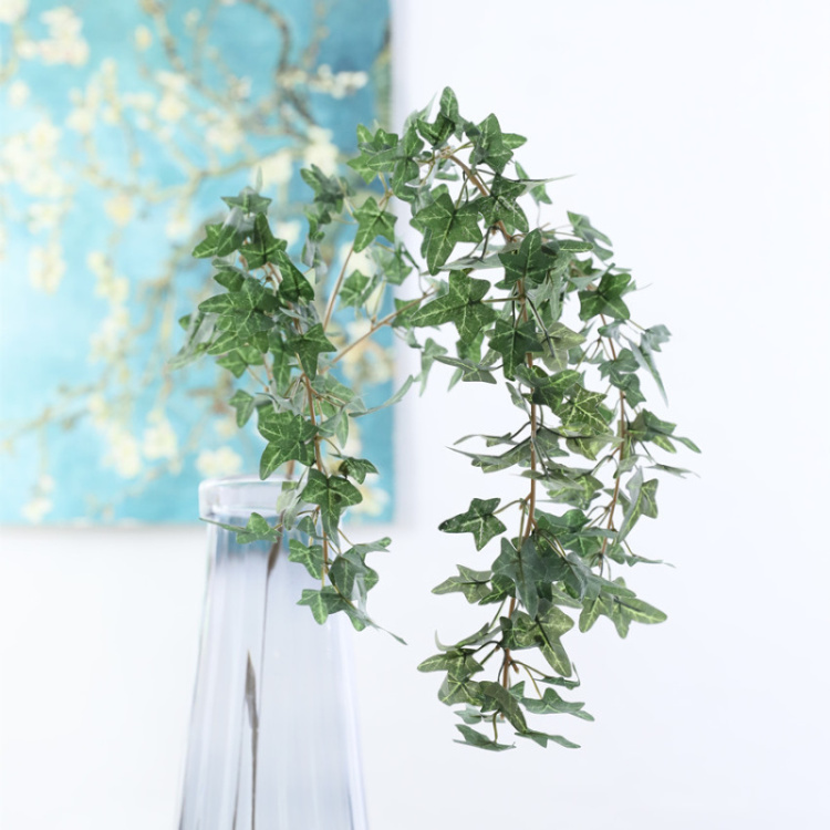 Factory supply faux leaves 3 forks leaves vine artificial ivy garland