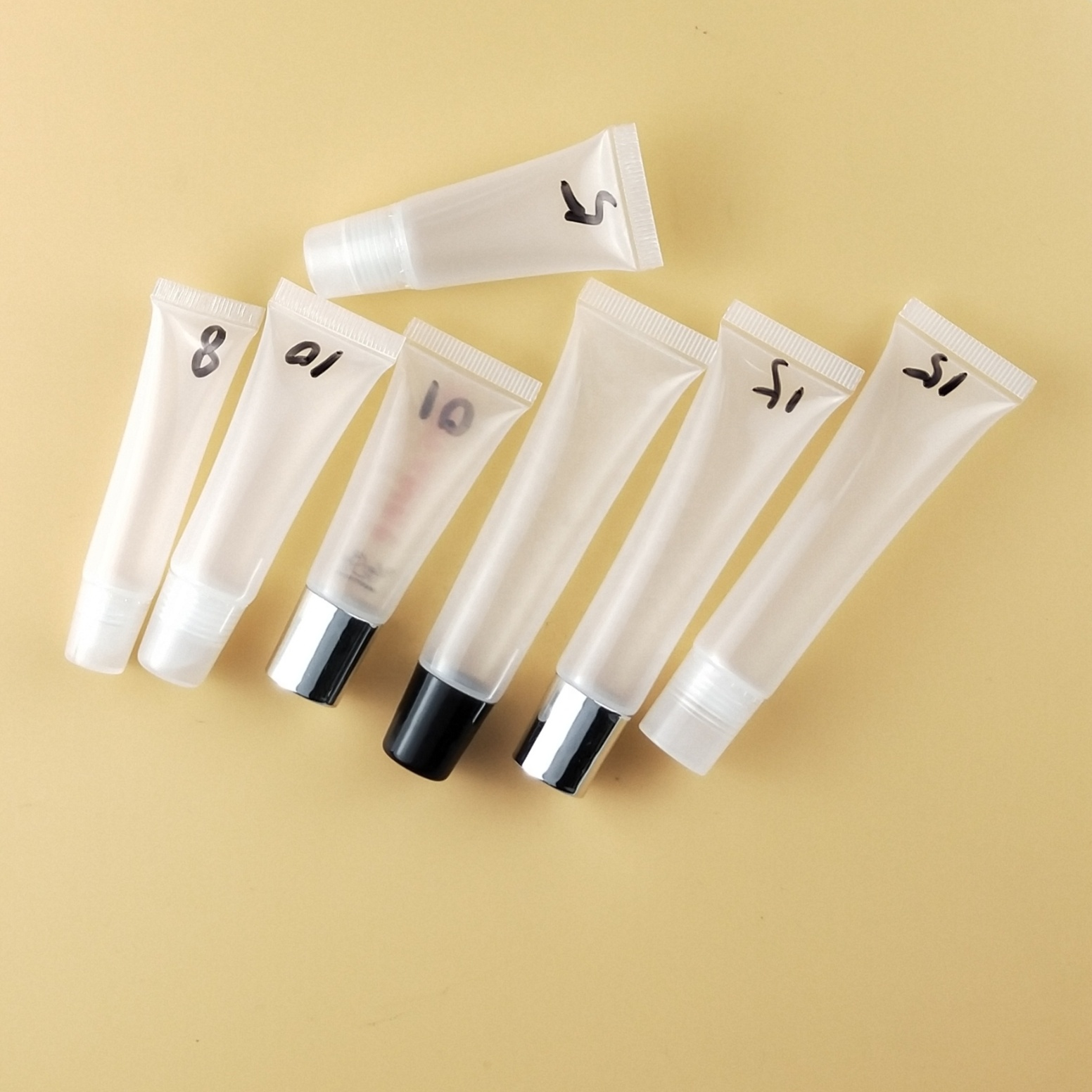 15ml 8ml Low MOQ private label custom logo transparent lip balm squeeze tube lipgloss squeeze tube