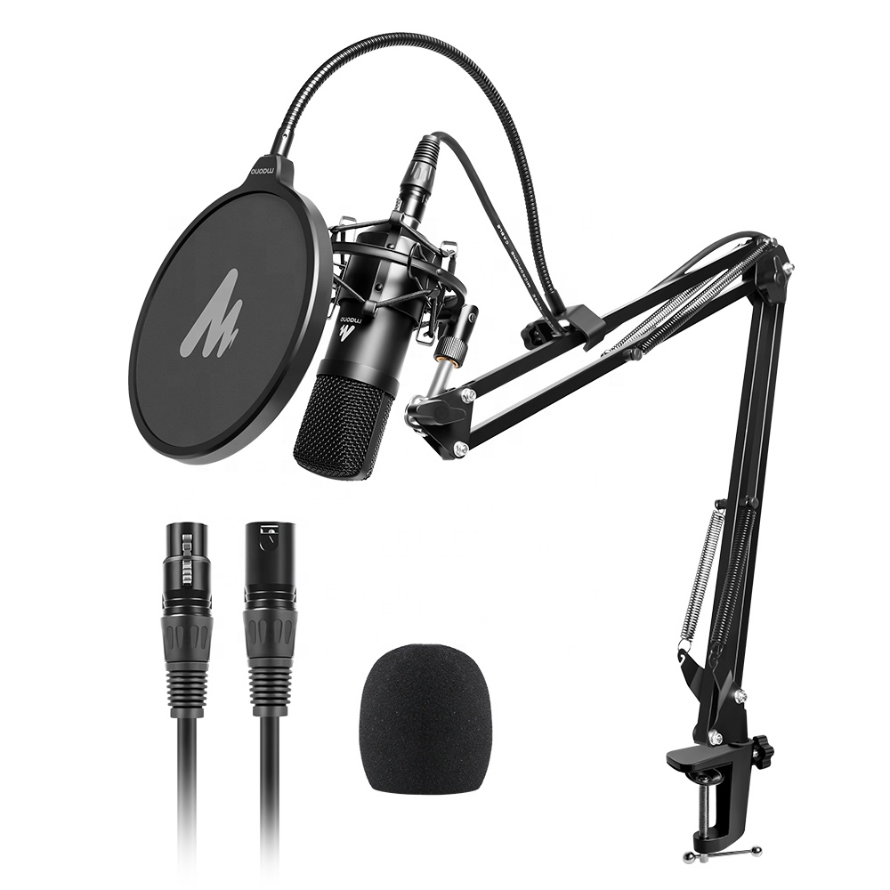 MAONO All Black Wired Microphone Kit for Support for Multiple Devices