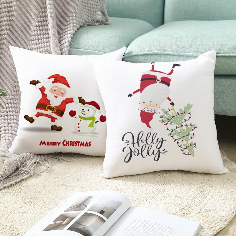 Xmas Cushion Cover Merry Christmas Santa Claus Happy New Year Gift Navidad 2020