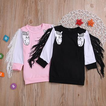 Children's wear pink round neck unicorn print long sleeve cute fringed children's sweater pullover