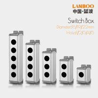 LANBOO 1 2 3 4 5holes 16mm/19mm/22mm waterproof Aluminium Alloy Metal Push Button Switch box with Outdoor power control Box