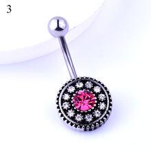 Нержавеющая сталь цветок лепесток пупка пирсинг Кристалл пупка Кольца пирсинг модное кольцо(Китай)