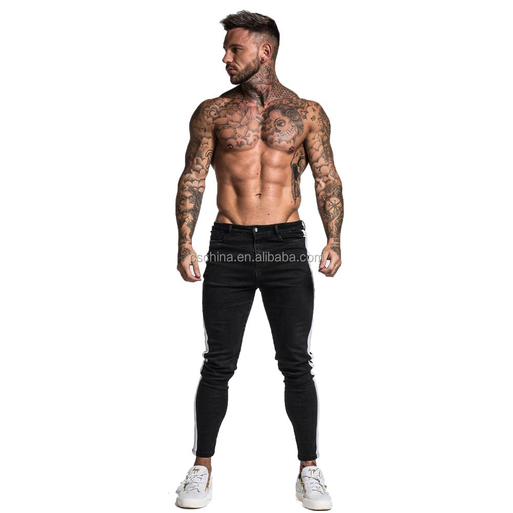 पुरुषों पर रंग का जींस पतला लोचदार कमर सुपर स्प्रे पतला पैर जींस पैंट पुरुषों के लिए 2019 नई ठोस खाकी रंग