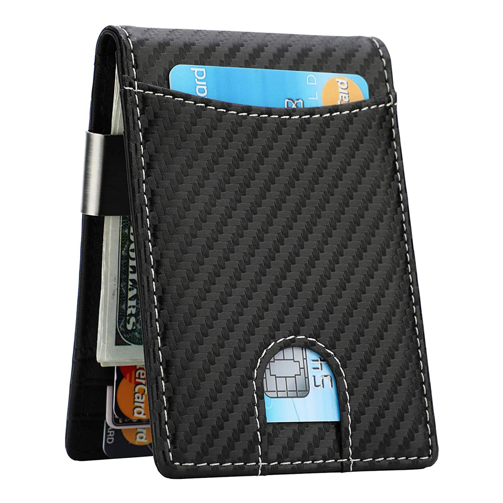Slim Carbon Fiber Card Holder Case Wallet Pocket Leather RFID Block Money Clip