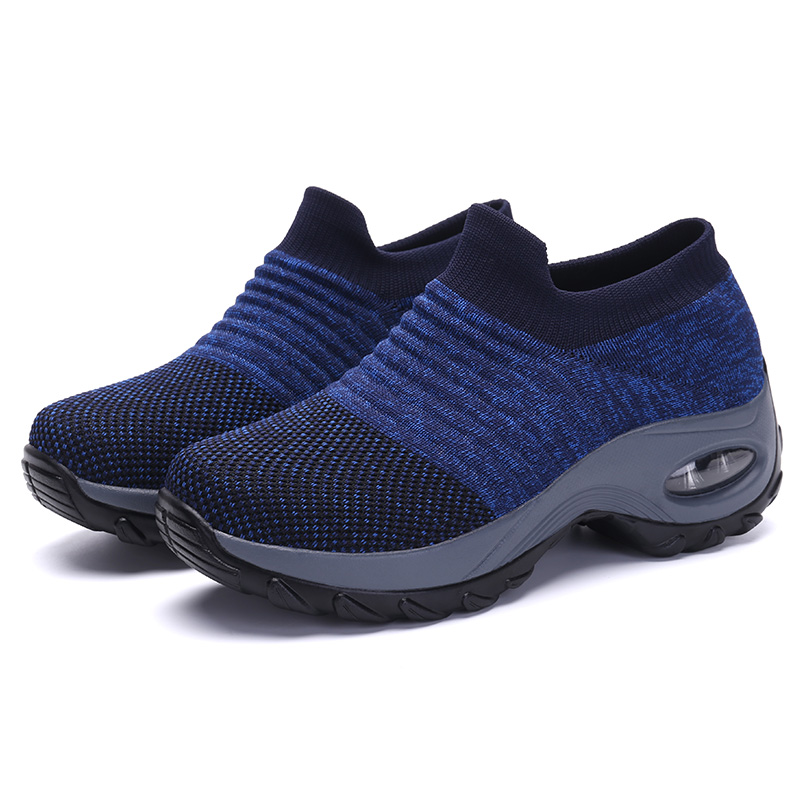 New Height Increasing ladies Fashion Breathable Mesh Casual slip on Shoes Platform Sneakers knit Upper Sock For Women stocks