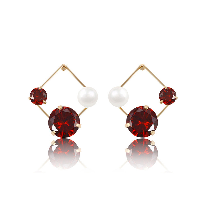 91230 Hot sale rhombus shaped artificial gemstone and <strong>pearl</strong> <strong>stud</strong> <strong>earrings</strong> graceful ladies jewelry