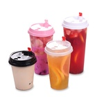 Customized 24 oz 700ml plastic PP cup bubble milk tea cup with lid for cold and hot drinks
