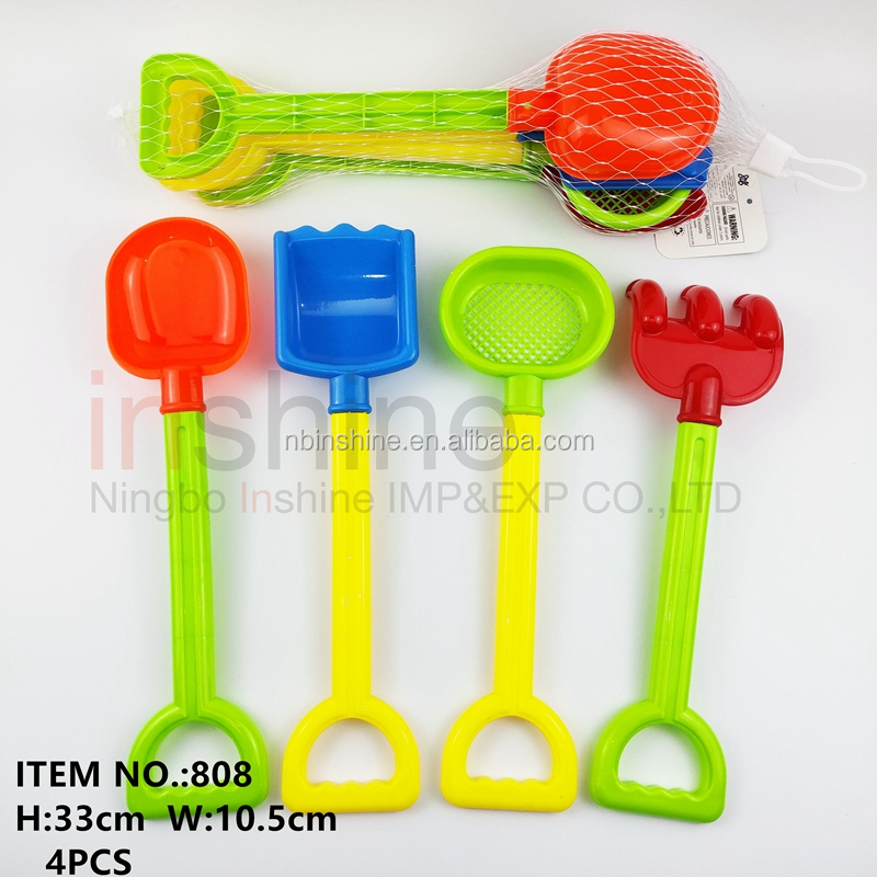 IN57716  Outdoor Kids 4pcs Mini Play Toys  Summer Beach Sand Shovel ,strainer,Rake set