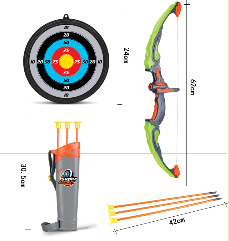 Whole set plastic kids outdoor or indoor play set toy hunting bow and arrow archery set