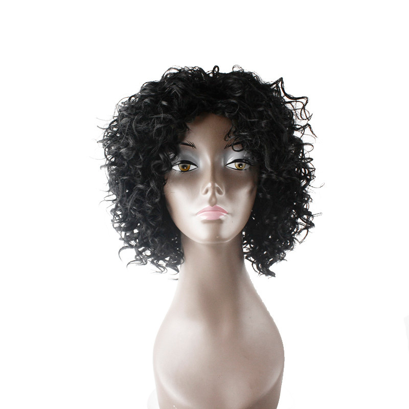 Fashion Black Color Short Kinky Curly Machine Made <strong>Synthetic</strong> Hair <strong>Wig</strong> Short Deep Wave <strong>Full</strong> <strong>Lace</strong> <strong>Wig</strong>