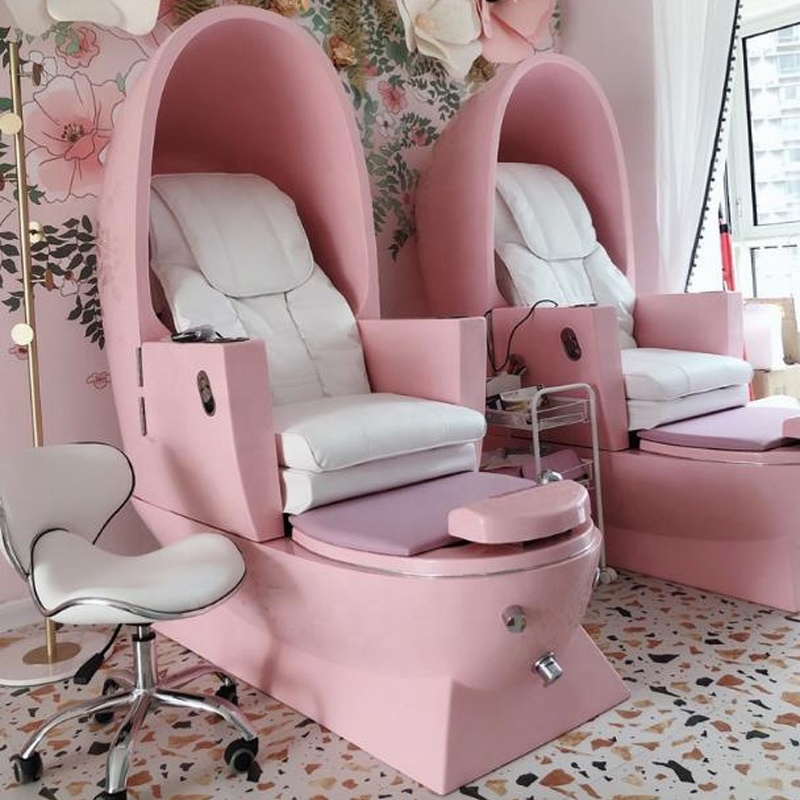 Hot Pink Factory Sale Luxury Egg Shape Massage Beauty Furniture Pedicure Chair Spa Chair For Sale