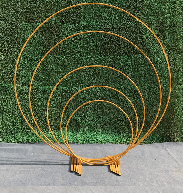 2m diameter Wedding Decoration Gold Color Metal Round Circle Backdrop for Flower Stand