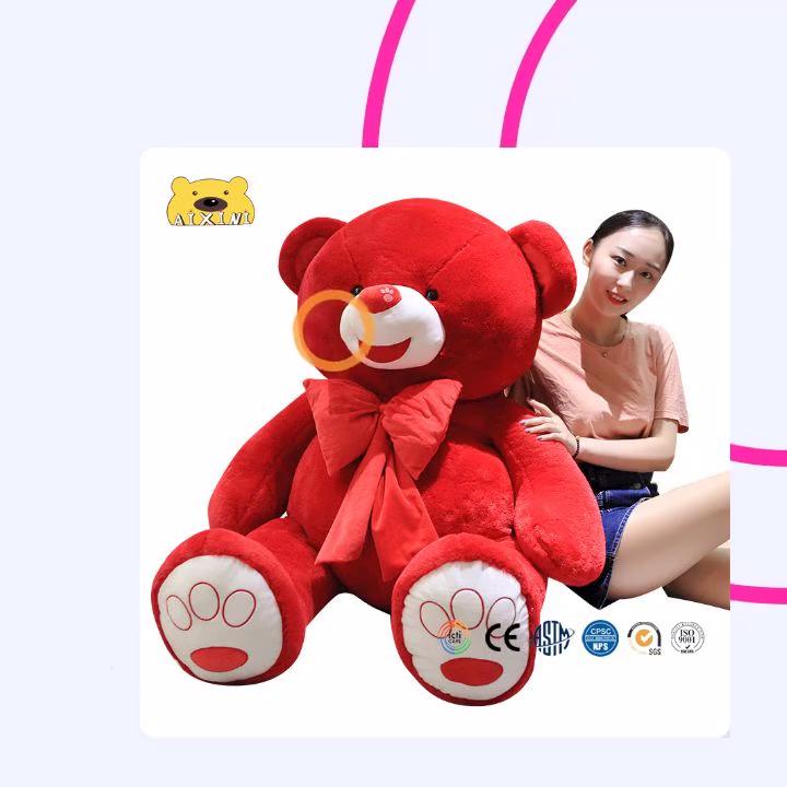 도매 테디 베어 인형 화이트와 레드 자이언트 테디 베어 소프트 플러시 장난감