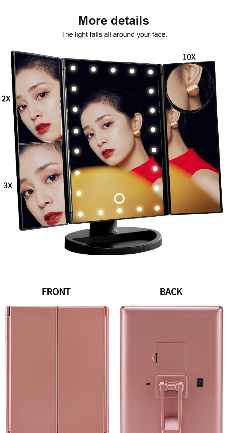 Pvc Bathroom Makeup 16 Lighted Vanity Make Up Mirror With Led