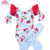 Gymnastics printed leotard baby training Bodysuit stretch Christmas snowman elf leotard with flutter sleeves red for toddler