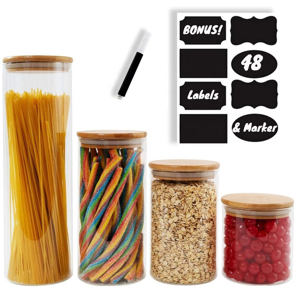 Glass Kitchen Canisters Clear Glass Food Storage Jar With Airtight Bamboo Lids
