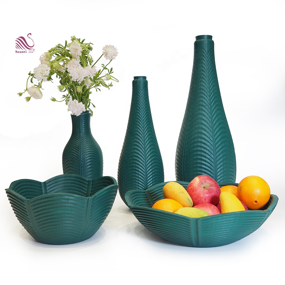 Suanti hotel nordic antique decorative resin flower vases set home decoration polyresin luxury wedding modern home decor vase