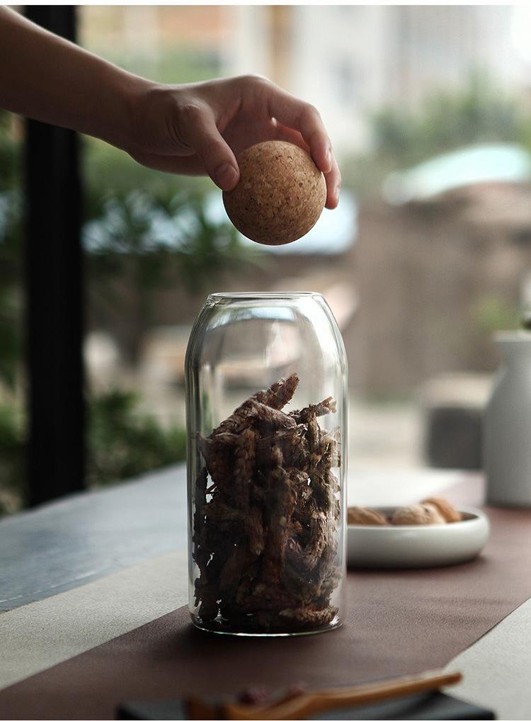 500/800/1200ml Borosilicate Glass Storage Jar Wood Lid Cork Ball Stopper Lid