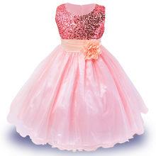 Горячая распродажа платье с пайетками для девочек на 3-14 лет платья с цветами из парчи высокое качество праздничное платье принцессы для пра...(Китай)