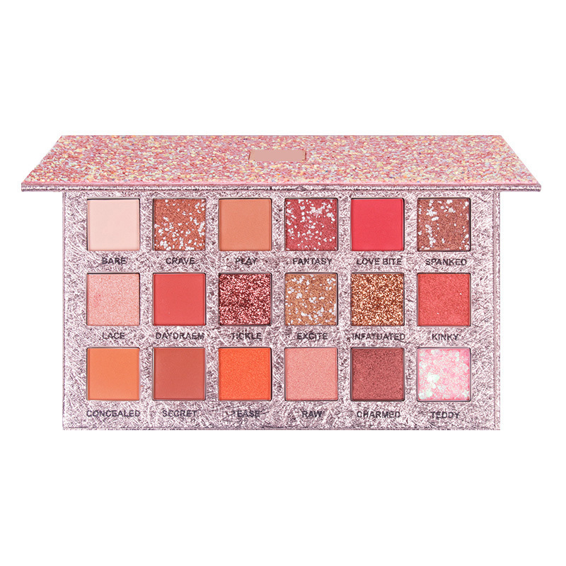 Wholesale Makeup Cosmetics 18 Colors Private Label Glitter Eyeshadow Palette With Chain