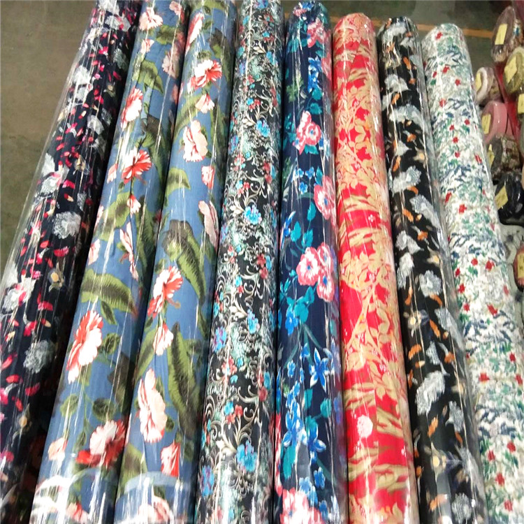 Colorful floral pattern stock challis digital 100% viscose rayon fabric for dress
