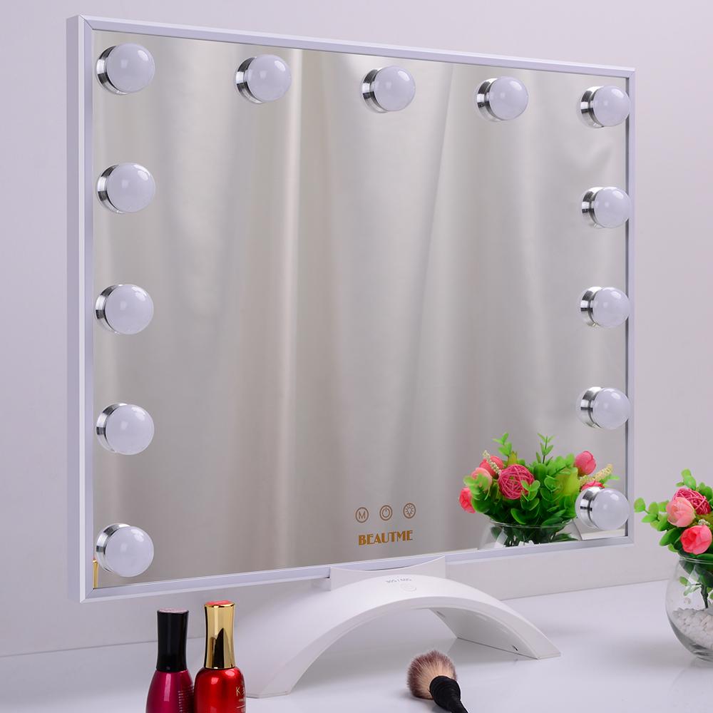 Beautme Desktop Vanity LED 15 Bulb Mirror Light Kit for Makeup Hollywood Mirror with Light