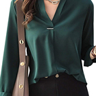 Stylish Clothing Long Sleeve V Neck Chiffon Top Lady Blouse