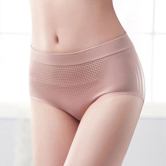 Damen Soft Panties Warm Belly Unterwäsche Mid Waist Honeycomb Briefs Unterhose