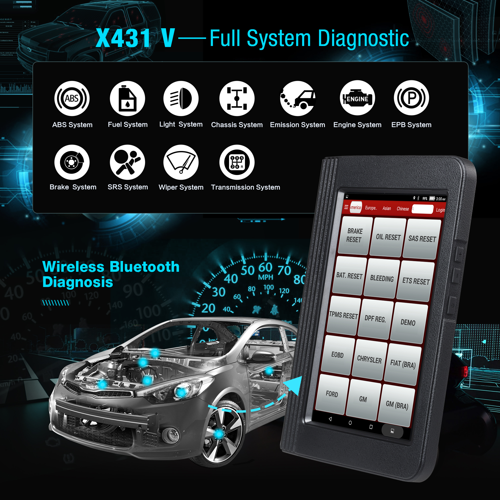 Launch X431 V 4.0 Full System OBD2 Diagnostic Scanner Automotive OBDII ECU coding 16 Reset service X431V Car Code Scanner reader