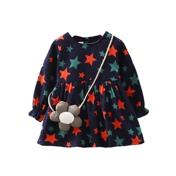 star shoulder bag Wholesale Christmas custom kids dresses children fall winter clothing baby girl daily frock