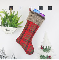 New Large Christmas Stockings Gifts Cloth Santa Socks Xmas Lovely Gift Bag For Children Fireplace Tree Christmas Decoration