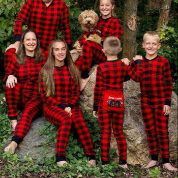 Dad And Mom Christmas Gingham Rompers Plus Size Plain family Deer Pajamas Children Clothing Pants
