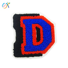 wholesale custom high quality appliques embroidered white chenille varsity letter d patches for hoodies no minimum
