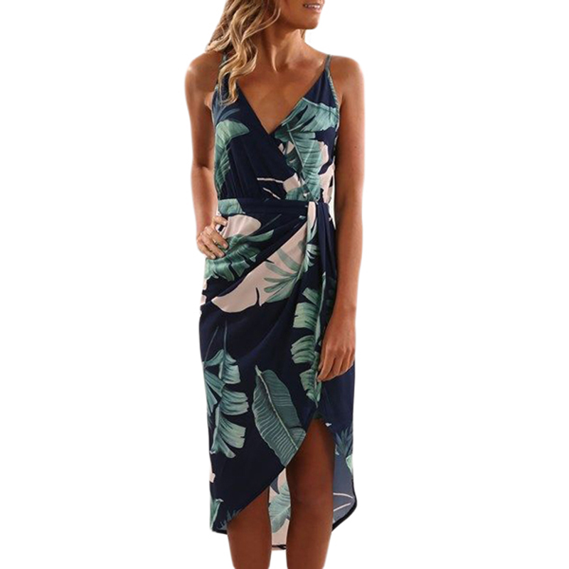 Best Selling Fashion Summer Sexy Deep <strong>V</strong> Neck Green Leaves Print Boho Dress