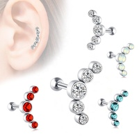 Tragus Piercing Prong Set 5 CZs Piercing Ear Stud Body Jewelry Earring