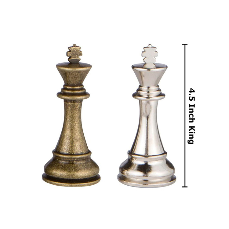 Promotional High Quality Weighted Metal Pewter Brass Chess Pieces Sets with Case