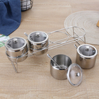 Stainless steel seasoning pot spice jar set with spoon