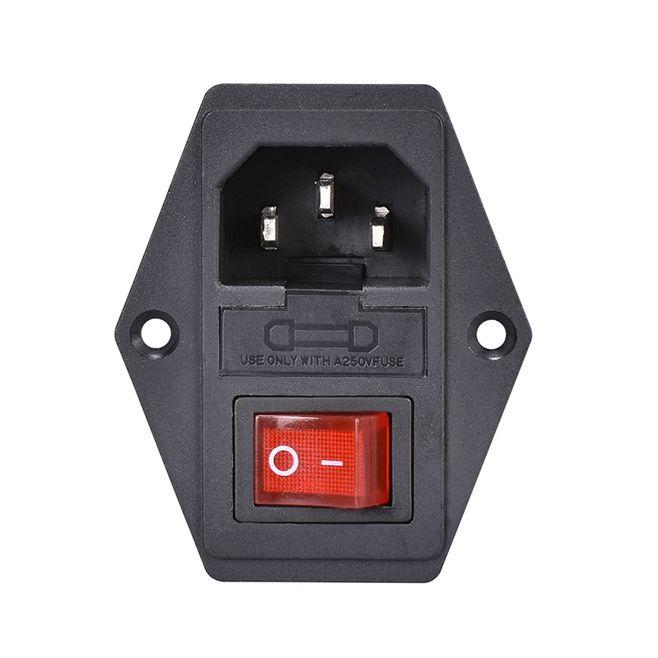 3 broches d'entrée AC prise de courant avec interrupteur à bascule et fusible