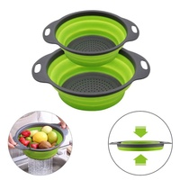 BPA Free Good Quality Plastic Collapsible Colander 2 sets, Kitchen Foldable Silicone Strainer