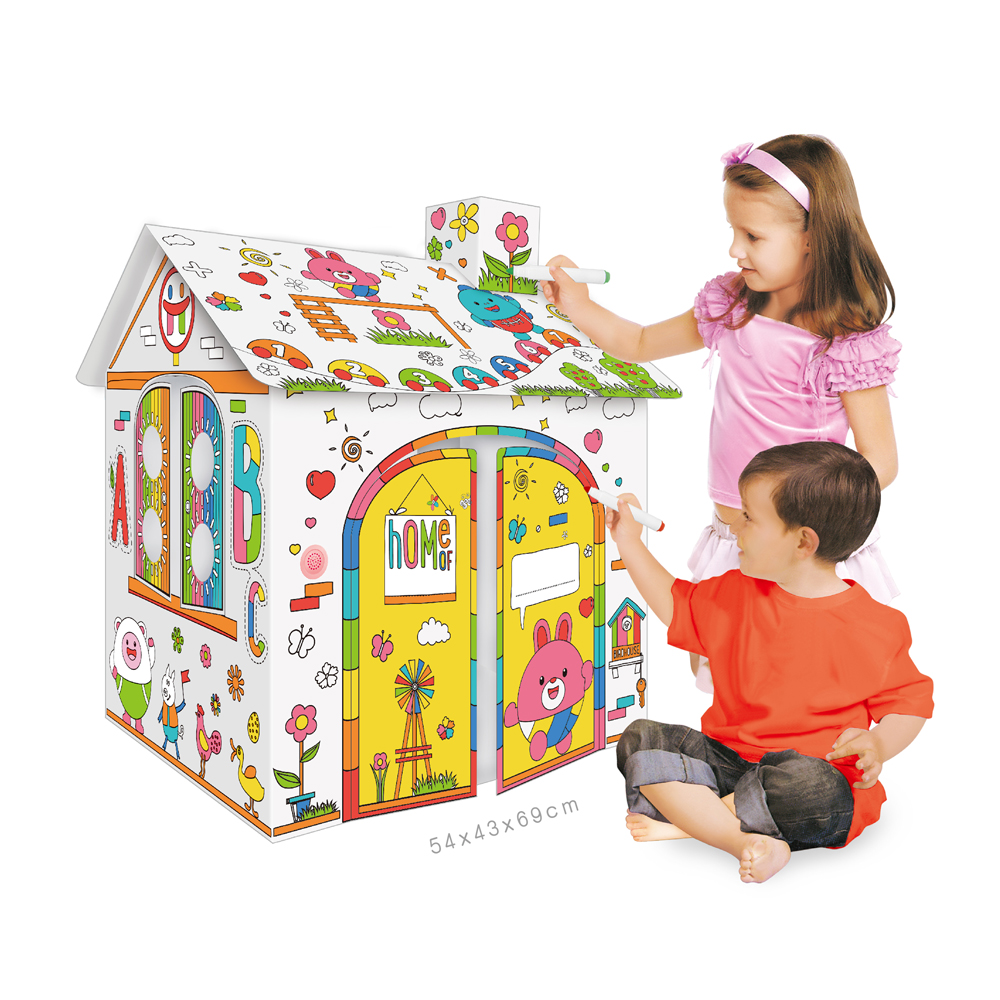 Drawing and coloring cardboard playhouse Art class training aid Coloring pens drawing paper room Educational DIY Doodling house