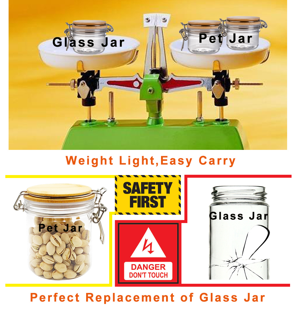 6pcs (1pack)- 1 Gallon Mason Jar Sets- PET Jar Wide Mouth with Airtight Foam Lined Plastic Lid - Safe Mason Jar for Fermenting