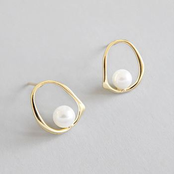 JD Jewelry Custom Personalized shell pearl drop 18k gold plated S925 sterling silver stud earrings