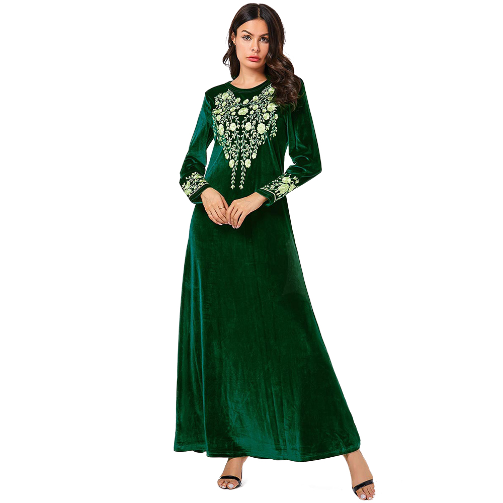 Zakiyyah 9154 New Design Abaya of Jeddah Islamic Clothing Turkish Large Size Embroidered Velvet Dress