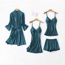 Женская пижама JULY'S SONG, шелковая Элегантная пижама с вышивкой, пижамные комплекты, сексуальное платье, женские шорты, домашняя одежда(Китай)