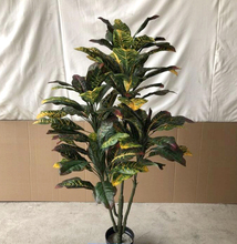 Kunstmatige '<span class=keywords><strong>Croton</strong></span> Indoor Topiary Zijde Boom Bush Palm Plant In Pot